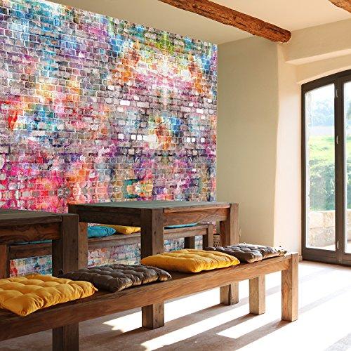 murimage Fototapete Steinwand 366 x 254 cm inklusive Kleister Kinderzimmer Graffiti bunt Grunge Vintage Wall Art Jungen Steine Grafitti Tapete
