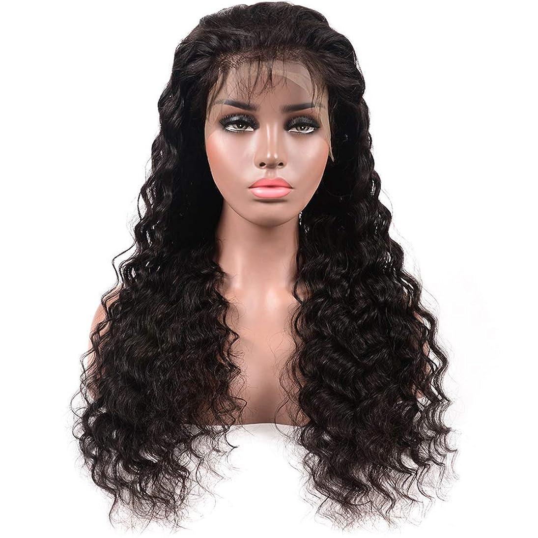 暗い松弁護人かつら ディープウェーブハーフハンド100%本物の人間の髪の毛の自然な黒の長い巻き毛のレースフロントかつら女性の毎日のドレス(8
