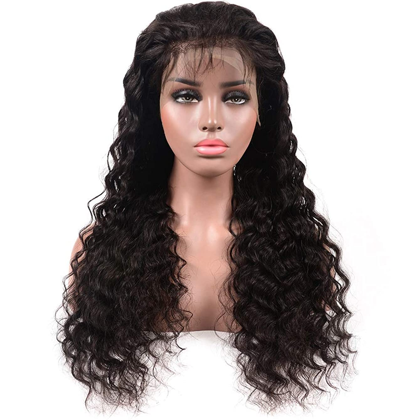 サバント便利さ怠けたYESONEEP ディープウェーブハーフハンド100%本物の人間の髪の毛の自然な黒の長い巻き毛のレースフロントかつら女性の毎日のドレス(8
