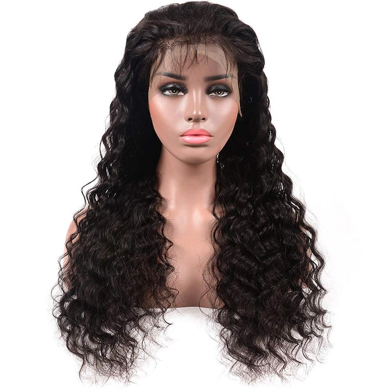 楽観的バッジ必需品YESONEEP ディープウェーブハーフハンド100%本物の人間の髪の毛の自然な黒の長い巻き毛のレースフロントかつら女性の毎日のドレス(8