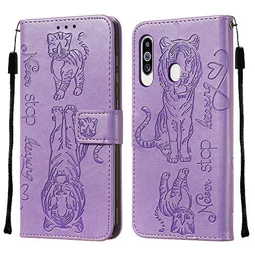 FAWUMAN Funda Samsung Galaxy M40 / A60,Funda Piel TPU+PU,Soporte Plegable,Ranuras para Tarjetas y Billetes,Estilo Libro,Magnético Cerrado Caja del teléfono móvil con cordón-Púrpura Claro
