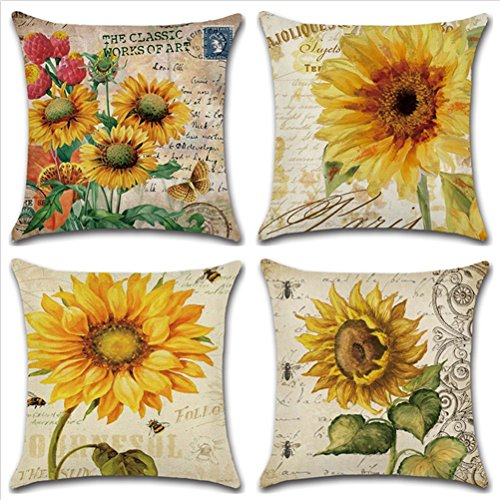TOPNEW Decorative Vintage Floral Design Square Linen Throw Pillow Cover, Burlap Pillow Case Cushion Cover for Living Room Couch, Set of 4 - Sunflowers 18 x 18 Inches