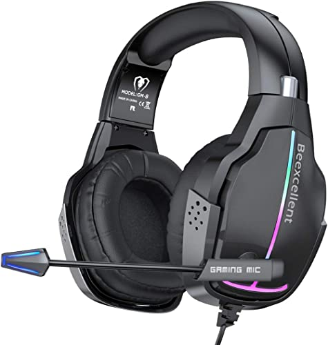 VersionTECH. RGB Stereo Gaming Headset PS4 Xbox One Wired Headset Headphones with 50mm Driver, Comfortable Adaptive E...