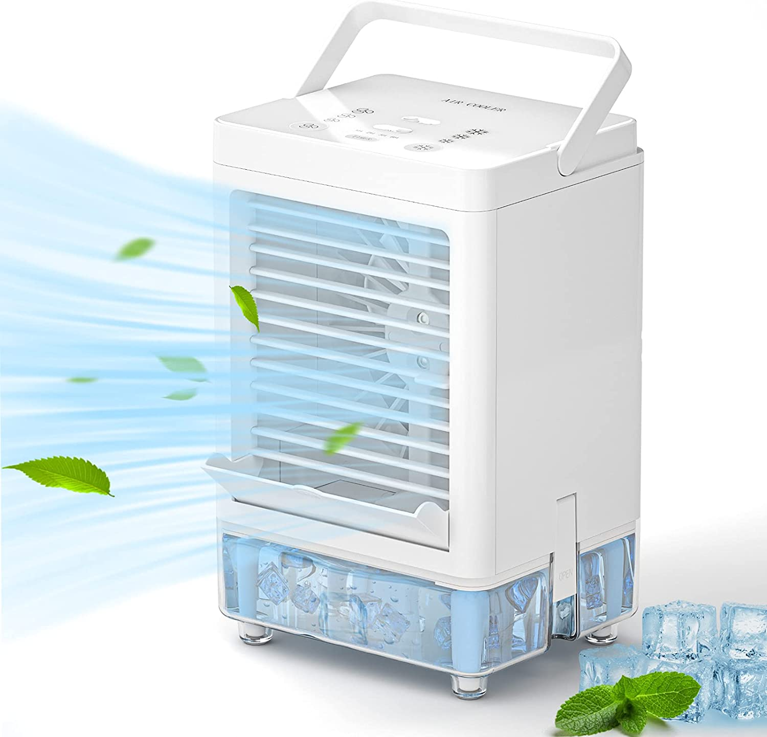 SOKOO Air Cooler Fan, Portable 5000mAh Rechargeable Battery Operated Air Conditioner Fan with 3 Wind Speed, Touch Control Cooling Fan with 800ml Water Tank Easy to Refill Water or Ice
