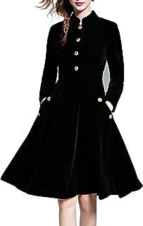 LAI MENG (Promozioni di Tempo limitato Vintage Donna Manica Lunga Velluto Midi Vestito Cocktail Partito Elegante Abito a P...