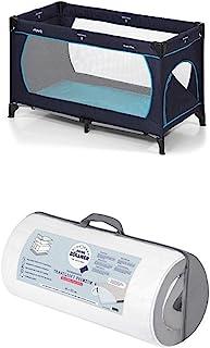 Hauck Kinderreisebett Dream N Play Plus, inkl. Julius Zöllner Premium Reisebettmatratze, tragbar und klappbar, 120 x 60 cm, blau navy aqua