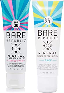 Bare Republic Moisturizing Mineral Face & Tinted Face Sunscreen Lotion Multipack | 1.7 oz | 2 Pack | Broad Spectrum UVA/UVB Reef Friendly | Water Resistant Environment Family Protection