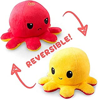 TeeTurtle | The Original Reversible Octopus Plushie | Patented Design | Red + Yellow | Happy + Angry | Show your mood with...