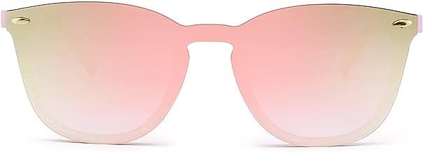 Rimless Sunglasses One Piece Mirror Reflective Eyeglasses for Men Women