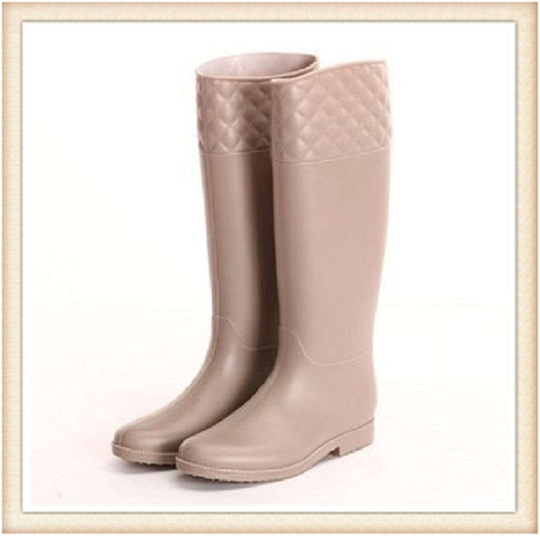 Hanxue Womens Slim Fit High Rainboots Garden Rainshoes