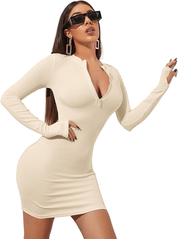 SheIn Women's Sexy Long Sleeve Bodycon Dress Zipper Outfits Fitness Mini Dresses