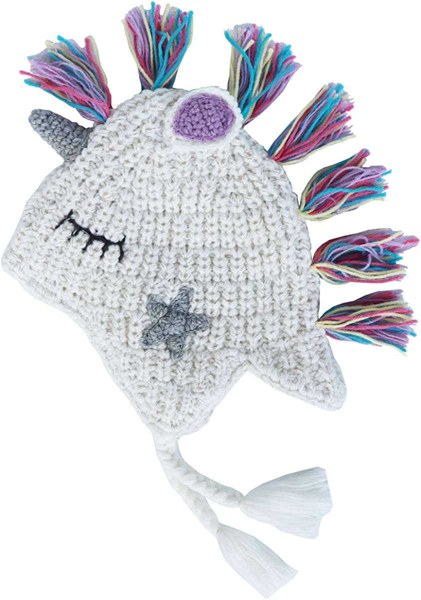 Xinqiao Baby Toddler Winter Beanie Hat Unicorn Animal Earflap Knitted Warm Cap