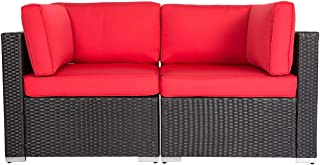 Kinbor Patio PE Wicker Couch, 2-Seat Outdoor Black Rattan Loveseat Sofa Furniture with Red Cushion