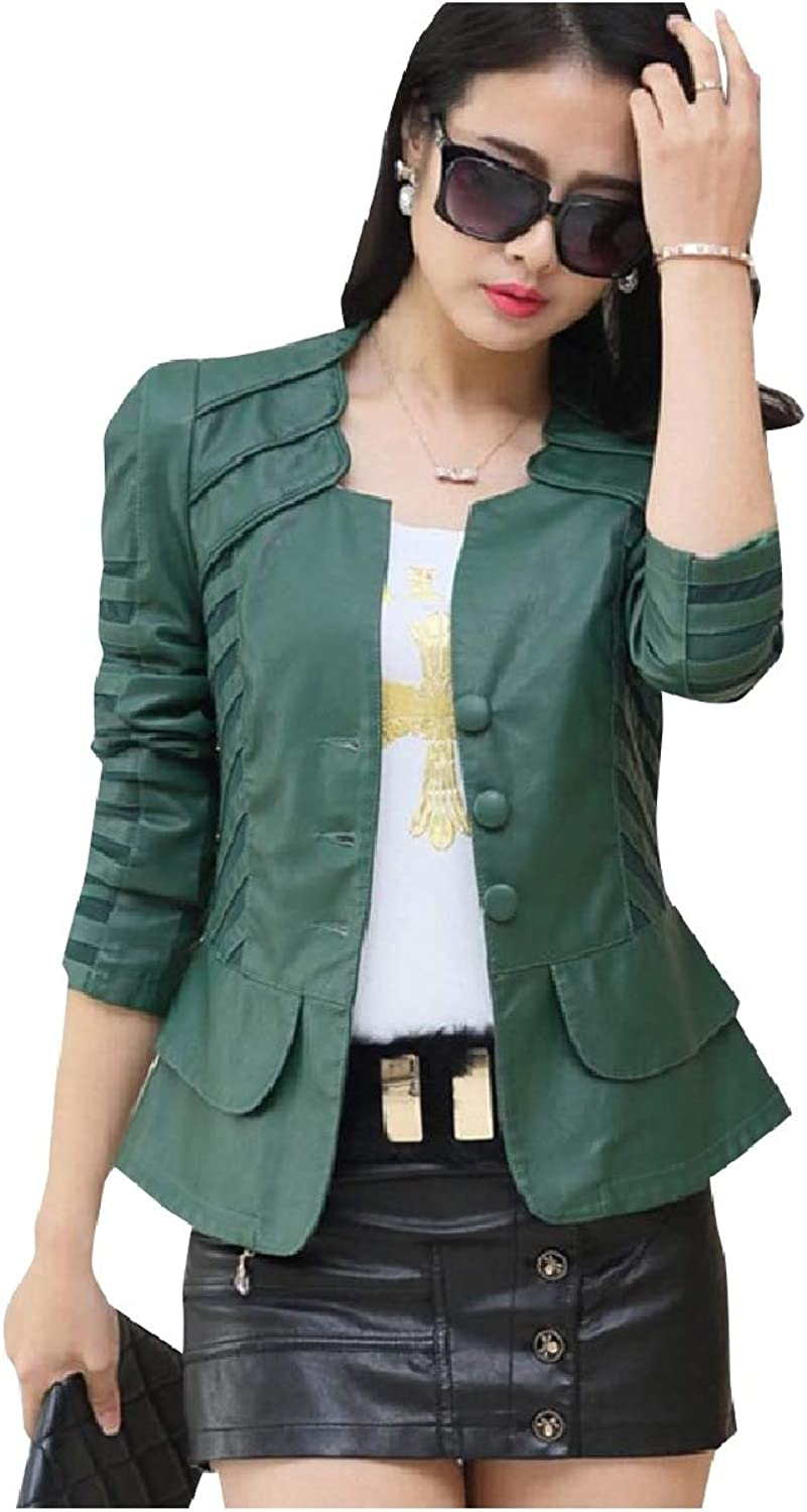 Fieer Womens Sexy Fashion Patchwork Button FauxLeather Coat Jacket