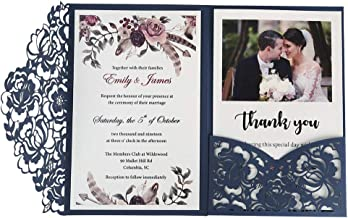 Doris Home 50pc 4.7 x7 inch Blue Laser Cut Hollow Floral Wedding Invitations Cards with Envelopes for Wedding Bridal Shower Invites