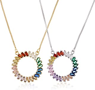 rainbow cz necklace