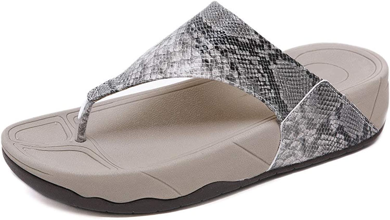 Dreneco Round Peep Toe Sandals for Women, Summer Beach Post Sandals Flip Flops Wedge shoes for Ladies