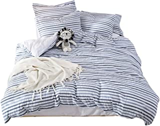 UMI. Essentials Seersucker 100% Cotton Yarn Dyed Duvet Cover Set with Two Pillowcases (200x200+2x80x80cm,Blue)
