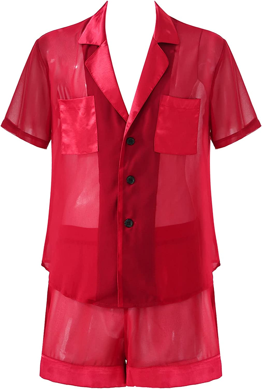 Lejafay Inexpensive Men's Sheer Chiffon Pajamas Challenge the lowest price of Japan ☆ Sleepwear Set Sleeve Short B