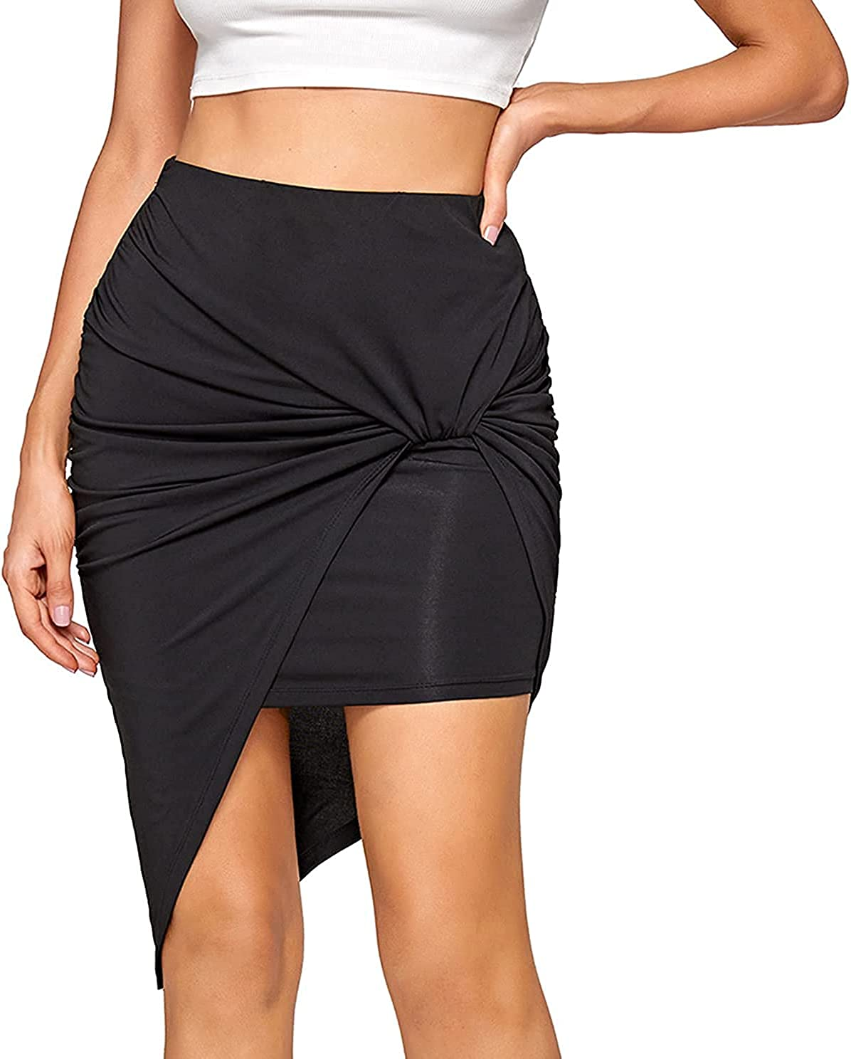 Ranle Women's Stretch High Waist Draped Skirt Bohemian Asymmetric Mini Skirt