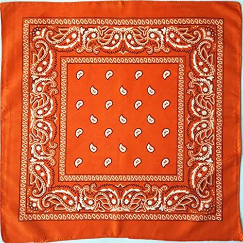 Aangekomen Unisex Hip Hop Zwarte Bandana Mode Hoofddeksels Haarband Nek Sjaal Polsbandjes Vierkante Sjaals Print Zakdoek, Oranje