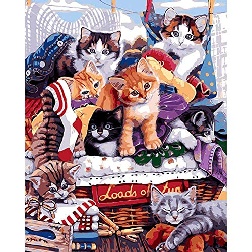Pintura por número de Kit Molti gatti fanno festa Diy pintura al óleo dibujo Decoración de Navidad decoraciones regalos - 16x20 pulgadas Enmarcado