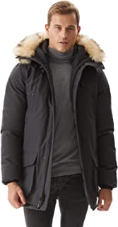 Molemsx Men's Down Alternative Jacket Mountain Thicken Lined Fur Hooded Long Anorak Parka Padded Coat XS-3XL