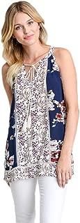 Jodifl Women's Multi-Print Sleeveless Tassel Tie Top Navy Multi