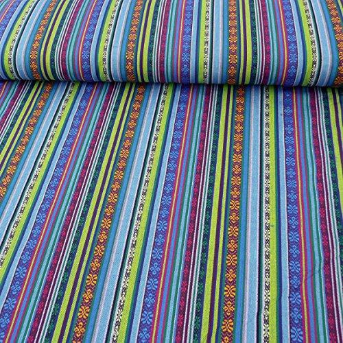 Joytex Stoff Polyester Streifen Mexico blau grün pink 1,5m Breite