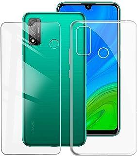 KJYF Fundas para Huawei P Smart 2020 (6.21 Pulgadas) + Protectores de Pantalla in Cristal Templado HD, Flexible Case Caso Cover Transparente TPU Silicona - Transparente