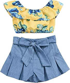 Hopscotch Baby Girls Cotton Floral Sleeveless Top with Shorts in Yellow Color