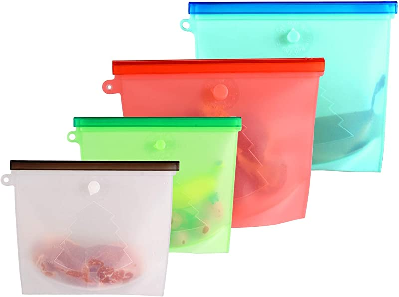 Gshine Reusable Silicone Food Storage Bags Clear Silicone Bag For Lunch Sous Vide Cooking With Airtight Seal Large Sandwich Snack Size Silicone Baggies Silicone Food Bag 4 Packs Multi