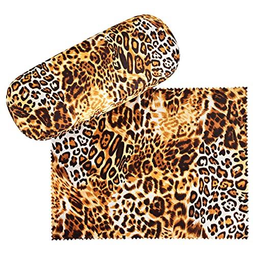 VON LILIENFELD Brillenetui Leopard Animalprint Raubkatze Motiv Etui Brille Mikrofaser Brillenputztuch Brillenbox Stabiles Hardcase Set mit Stoff bezogen