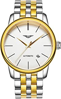 Guanqin Men Analog Business Automatic Self-Winding Mechanical Steel/Leather Wrist Watch Date (4 Silver Gold White)