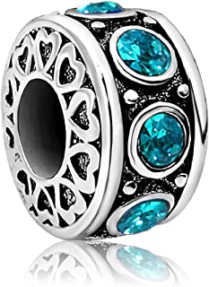 Heart Love Birthday Jan-Dec Birthstone Charms Beads for Bracelets