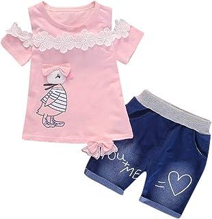 Shorts Set Anzug Kleidung Outfit Crew Neck Blusen Tops HEETEY Kinder T-Shirt Sommer Oberteile Neugeborenes Baby M/ädchen H/äschen Kleid Tops