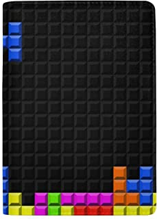 Color Game Three-Dimensional Block Russian Tetris Blocking Print Passport Holder Cover Case Travel Luggage Passport Wallet Card Holder Made with Leather for Men Women Kids Family