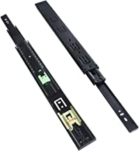 """VADANIA 16"""" Push to Open Drawer Slides Ball Bearing, Side Mount, 3-Fold Full Extension, Heavy Duty 100lb Load Capacity, Black, 1 Pair (2-Pack)"""