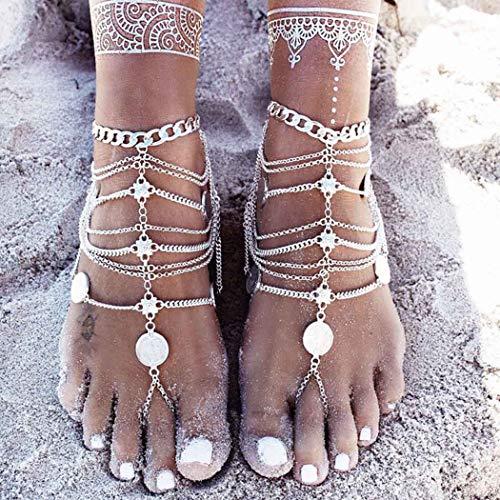 Yean Boho-Fußkettchen, Silbermünze, Fußkettchen, verstellbar, Strandschmuck für Damen und Mädchen (1 Stück)