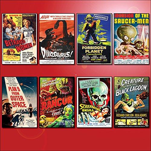 Classic B Movie Film Poster Kühlschrankmagnete - Set von 8 großen Kühlschrankmagnete No.2