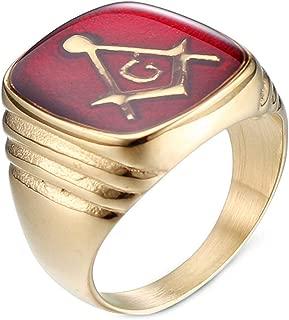 Mens Retro Red Oil Masonic Stainless Steel Rings