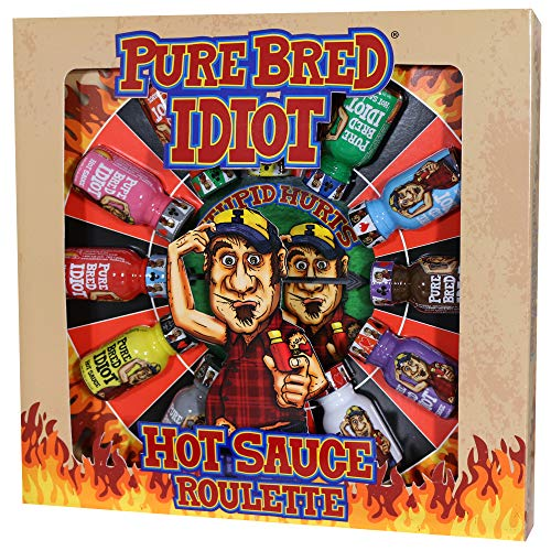 Pure Bred Idiot - Hot Sauce Roulette Game - 12 - 0.75 Ounce Bottles Gift Set - Prefect Premium Gourmet Gifts for Men - Try If You Dare!