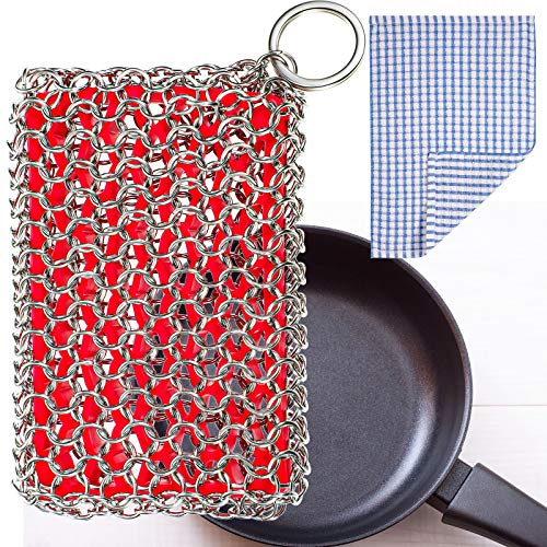 2 Pieces Cast Iron Scrubber, Red Iron Pan Cleaner with Silicone Insert, 316 Stainless Steel 3D Chain Metal Scrubber Scraper and Cloth for Pan, Griddle, Baking Pan