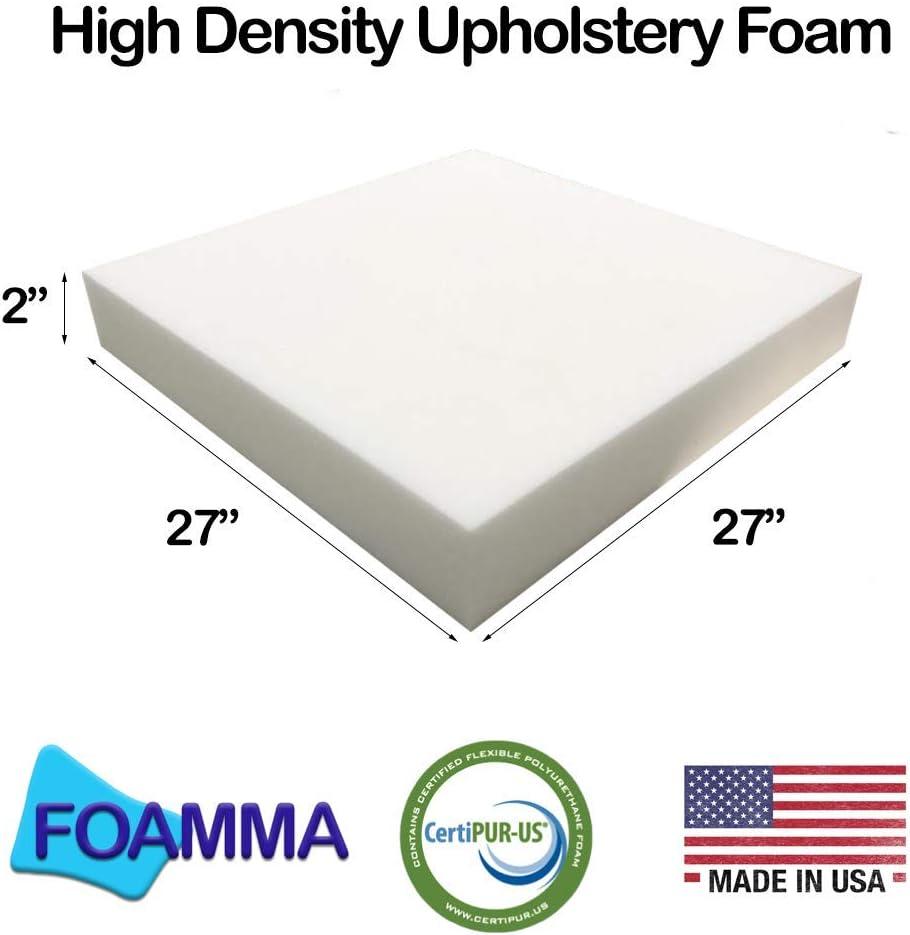 FOAMMA 1 x 27 x 27 Upholstery Foam High Density Foam Chair Cushion Square Foam for Dinning Chairs, Wheelchair Seat Cushion Replacement