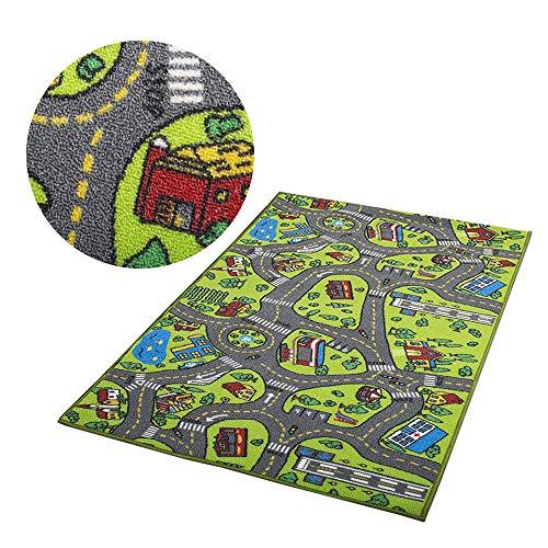 WE-WIN Tapis de jeu simulé ditinéraire de trafic,tapis de jeu grande ville Village et route, tapis de jeu souples et pliants pour enfants Enfants Garçons Filles 100cm x 130cm (green 1)