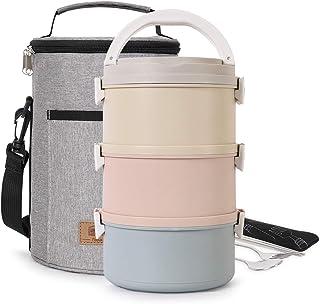 buringer Fiambrera cuadrada con bolsa de almuerzo aislada, caja Bento, apilable, de acero inoxidable, contenedores de almacenamiento con cuchara para niños, escuela y oficina de adultos