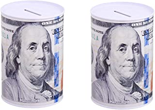 "TSY TOOL 2 Pack $100 Dollar Bill Piggy Bank 6"" Tall Coin Saving Money Currency Benjamin Franklin C Note Tin Can Banknote J..."