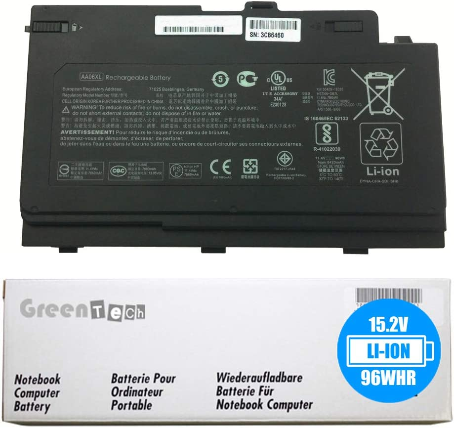 GreenTech Many popular brands Over item handling New AA06XL Replacement Battery for Gr HP - G4 17 Zbook