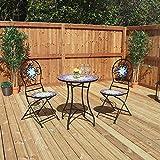 Wido 3 Piece Blue Mosaic Bistro Patio Garden Set Outdoor Furniture Restaurant Table Chair Set