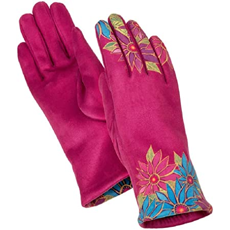 Embroidered Half Moon on Black and Purple Laurel Burch Moon Womens Gloves